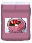 Cold Strawberry Rhubarb Soup In Ice Bowl Duvet Cover