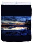 Cold Winter Sunset On The Lake Duvet Cover