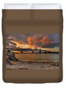 Coleman Bridge At Sunset Duvet Cover