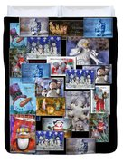 Collage Xmas Cards Vertical Photo Art Duvet Cover