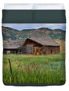Collapsed Log House In Utah Duvet Cover