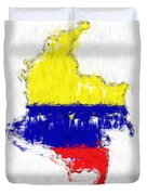 Colombia Painted Flag Map Duvet Cover