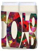 Colorado Typographic Watercolor Map Duvet Cover