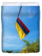 Colombian Flag And Blue Sky Duvet Cover
