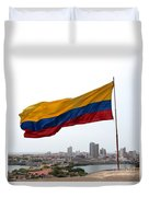 Colombian Flag Over Cartagena Duvet Cover