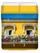 Colonial Balcony In Cartagena Duvet Cover