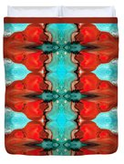 Color Chant - Red And Aqua Pattern Art By Sharon Cummings Duvet Cover
