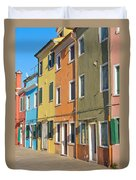 Color Houses In Row Duvet Cover