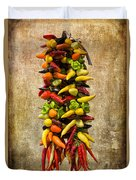 Color Peppers From Spain With Textured Background Dsc01467 Duvet Cover