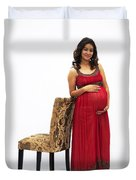Color Portrait Young Pregnant Spanish Woman Leaning On Chair Duvet Cover