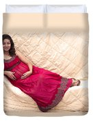 Color Portrait Young Pregnant Spanish Woman Reclining Duvet Cover