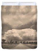 Colorado Country Road Sepia Stormin Skies Duvet Cover