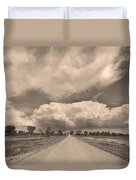 Colorado Country Road Sepia Stormin Skies Duvet Cover