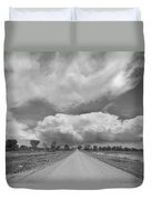 Colorado Country Road Stormin Skies Bw Duvet Cover