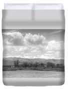 Colorado Front Range Rocky Mountains Panorama Bw Duvet Cover