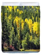 Colorado Mountain Lake In Fall Duvet Cover