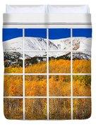 Colorado Rocky Mountain Autumn Pass White Window View  Duvet Cover