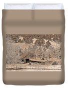 Colorado Rocky Mountain Barn Sepia Duvet Cover