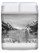 Colorado Rocky Mountain Winter Horseshoe Park Bw Duvet Cover