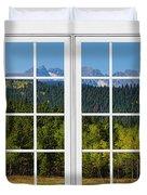 Colorado Rocky Mountains White Window Frame View Duvet Cover