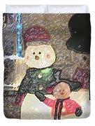 Colorado Snowman Family 1 12 2011 Duvet Cover