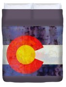 Colorado State Flag Weathered And Worn Duvet Cover