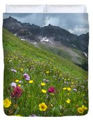 Colorado Wildflowers And Mountains Duvet Cover by Cascade Colors