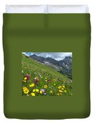 Colorado Wildflowers And Mountains Duvet Cover