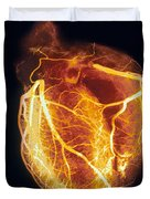 Colored Arteriogram Of Arteries Of Healthy Heart Duvet Cover