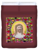 Colored Background Jesus Duvet Cover