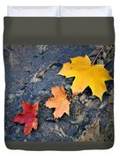 Colored Maple Leaf On Stone Duvet Cover