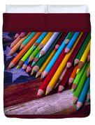 Colored Pencils On Wooden Flag Duvet Cover