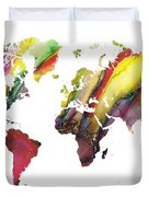 Colored World Map Duvet Cover