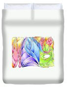 Colorful Abstract Drawing Duvet Cover