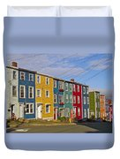 Colorful Apartment Buildings In Saint John's-nl Duvet Cover
