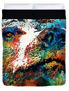 Colorful Bear Art - Bear Stare - By Sharon Cummings Duvet Cover
