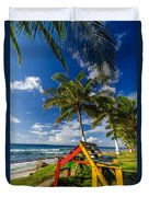 Colorful Bench On Caribbean Coast Duvet Cover