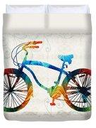 Colorful Bike Art - Free Spirit - By Sharon Cummings Duvet Cover