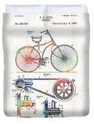 Colorful Bike Art - Vintage Patent - By Sharon Cummings Duvet Cover