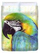 Macaw Watercolor Duvet Cover by Olga Shvartsur