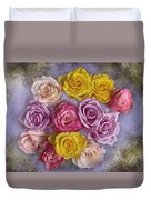 Colorful Bouquet Of Roses Duvet Cover