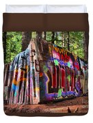 Colorful Box Car In The Forest Duvet Cover