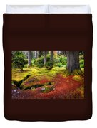 Colorful Carpet Of Moss In Benmore Botanical Garden. Scotland Duvet Cover