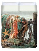 Colorful Catch - Starfish In Fishing Nets Duvet Cover