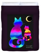 Colorful Cats And The Moon Duvet Cover