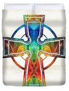 Colorful Celtic Cross By Sharon Cummings Duvet Cover