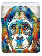 Colorful Chimp Art - Monkey Business - By Sharon Cummings Duvet Cover