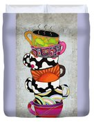 Colorful Coffee Cups Mugs Hot Cuppa Stacked I By Romi And Megan Duvet Cover by Megan Duncanson