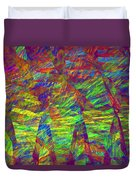 Colorful Computer Generated Abstract Fractal Flame Duvet Cover