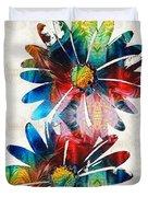 Colorful Daisy Art - Hip Daisies - By Sharon Cummings Duvet Cover